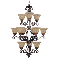 Symphony 12 Light 30 inch Oil Rubbed Bronze Multi-Tier Chandelier Ceiling Light in Screen Amber