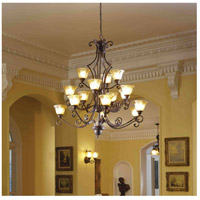 Symphony 15 Light 49 inch Oil Rubbed Bronze Multi-Tier Chandelier Ceiling Light in Screen Amber