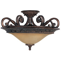 Symphony 3 Light 23 inch Oil Rubbed Bronze Semi Flush Mount Ceiling Light in Screen Amber