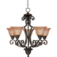 Symphony 5 Light 26 inch Oil Rubbed Bronze Single Tier Chandelier Ceiling Light in Screen Amber