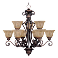 Symphony 9 Light 32 inch Oil Rubbed Bronze Multi-Tier Chandelier Ceiling Light in Screen Amber