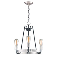 Maxim 11733BKSN Haven 3 Light 19 inch Black and Satin Nickel Single-Tier Chandelier Ceiling Light
