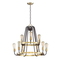 Haven 9 Light 27 inch Oil Rubbed Bronze and Antique Brass Multi-Tier Chandelier Ceiling Light