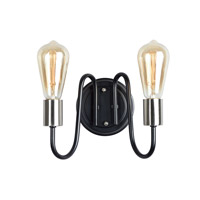 Haven 2 Light 9 inch Black and Satin Nickel Wall Sconce Wall Light