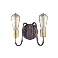 Haven 2 Light 9 inch Oil Rubbed Bronze and Antique Brass Wall Sconce Wall Light
