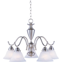 Maxim 12062MRSN Newport 5 Light 25 inch Satin Nickel Down Light Chandelier Ceiling Light