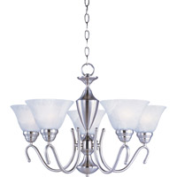 Maxim 12063MRSN Newport 5 Light 25 inch Satin Nickel Single Tier Chandelier Ceiling Light in Marble