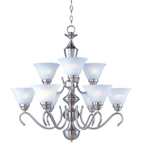 Newport 9 Light 31 inch Satin Nickel Multi-Tier Chandelier Ceiling Light in Marble