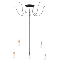 Early Electric 5 Light 14 inch Black and Antique Brass Multi-Light Pendant Ceiling Light