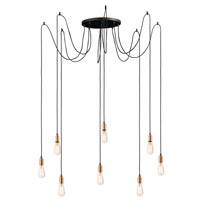 Maxim 12128BKAB Early Electric 8 Light 16 inch Black and Antique Brass Multi-Light Pendant Ceiling Light