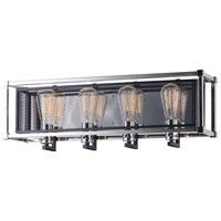 Maxim 12154BKPN Refine 4 Light 26 inch Black and Polished Nickel Bath Vanity Wall Light