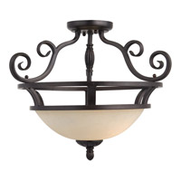 Manor 2 Light 20 inch Oil Rubbed Bronze Semi Flush Mount Ceiling Light