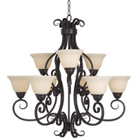 Maxim 12207FIOI Manor 9 Light 33 inch Oil Rubbed Bronze Multi-Tier Chandelier Ceiling Light