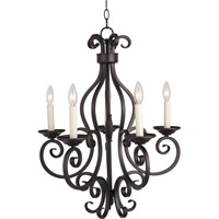 Manor 5 Light 26 inch Oil Rubbed Bronze Single Tier Chandelier Ceiling Light in Without Shade