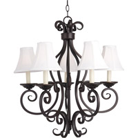 Maxim 12215OI/SHD123 Manor 5 Light 26 inch Oil Rubbed Bronze Single Tier Chandelier Ceiling Light in With Shade (123)