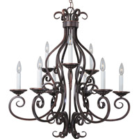 Maxim 12216OI Manor 9 Light 29 inch Oil Rubbed Bronze Multi-Tier Chandelier Ceiling Light in Without Shade