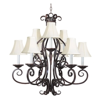 Maxim 12216OI/SHD123 Manor 9 Light 29 inch Oil Rubbed Bronze Multi-Tier Chandelier Ceiling Light in With Shade (123)