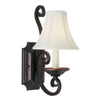 Manor 1 Light 7 inch Oil Rubbed Bronze Wall Sconce Wall Light in With Shade (123)
