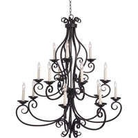 Maxim 12219OI Manor 15 Light 45 inch Oil Rubbed Bronze Multi-Tier Chandelier Ceiling Light in Without Shade