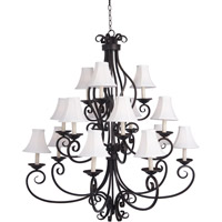 Maxim 12219OI/SHD123 Manor 15 Light 45 inch Oil Rubbed Bronze Multi-Tier Chandelier Ceiling Light in With Shade (123)