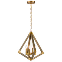 Maxim 12252WOAB Vector 4 Light 19 inch Weathered Oak and Antique Brass Single Pendant Ceiling Light