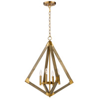 Vector 4 Light 24 inch Weathered Oak and Antique Brass Single Pendant Ceiling Light
