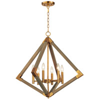 Maxim 12255WOAB Vector 6 Light 28 inch Weathered Oak and Antique Brass Pendant Ceiling Light