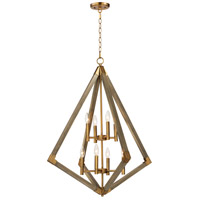 Vector 8 Light 30 inch Weathered Oak and Antique Brass Multi-Light Pendant Ceiling Light
