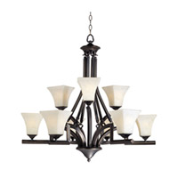 Maxim Lighting Mission Bay 9 Light Multi-Tier Chandelier in Heirloom Brass 12426FLHB