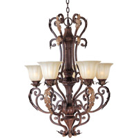 Augusta 5 Light 28 inch Auburn Florentine Single Tier Chandelier Ceiling Light in Without Crystals