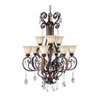 Augusta 9 Light 35 inch Auburn Florentine Multi-Tier Chandelier Ceiling Light in Without Crystals