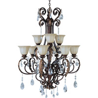 Augusta 9 Light 35 inch Auburn Florentine Multi-Tier Chandelier Ceiling Light in With Crystals (080)