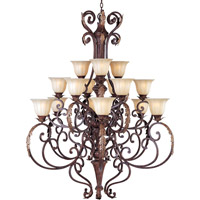 Augusta 15 Light 50 inch Auburn Florentine Multi-Tier Chandelier Ceiling Light in Without Crystals