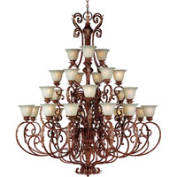 Augusta 27 Light 61 inch Auburn Florentine Multi-Tier Chandelier Ceiling Light in Without Crystals