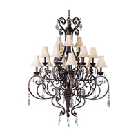Maxim Lighting Augusta 15 Light Multi-Tier Chandelier in Auburn Florentine 13577AF/CRY081/SHD62 photo thumbnail