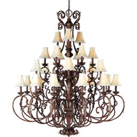 Maxim Lighting Augusta 27 Light Multi-Tier Chandelier in Auburn Florentine 13579AF/SHD62