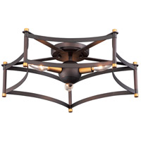 Maxim 13590OIAB Wellington 3 Light 20 inch Oil Rubbed Bronze and Antique Brass Flush Mount Ceiling Light