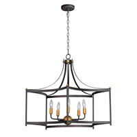 Maxim 13595OIAB Wellington 5 Light 30 inch Oil Rubbed Bronze and Antique Brass Multi-Light Pendant Ceiling Light