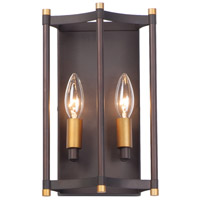 Maxim 13599OIAB Wellington 2 Light 7 inch Oil Rubbed Bronze and Antique Brass Wall Sconce Wall Light