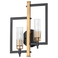 Maxim 16112CLBKAB Flambeau 2 Light 13 inch Black and Antique Brass ADA Wall Sconce Wall Light