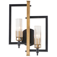 Maxim 16115CLBKAB Flambeau 2 Light 13 inch Black and Antique Brass ADA Wall Sconce Wall Light