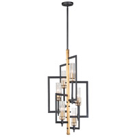 Maxim 16116CLBKAB Flambeau 6 Light 14 inch Black and Antique Brass Chandelier Ceiling Light