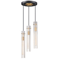 Maxim 16123CLBKAB Flambeau 3 Light 13 inch Black and Antique Brass Chandelier Ceiling Light