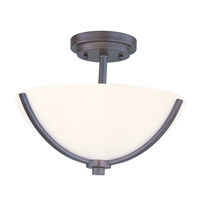 Deven 3 Light 14 inch Oil Rubbed Bronze Semi Flush Mount Ceiling Light