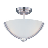 Deven 3 Light 14 inch Satin Nickel Semi Flush Mount Ceiling Light