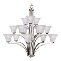 Maxim 20097FTSN Aurora 15 Light 45 inch Satin Nickel Multi-Tier Chandelier Ceiling Light