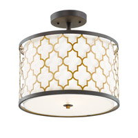 Crest 3 Light 16 inch Oil Rubbed Bronze and Antique Brass Semi-Flush Mount Ceiling Light