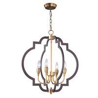 Crest 4 Light 22 inch Oil Rubbed Bronze and Antique Brass Chandelier Ceiling Light