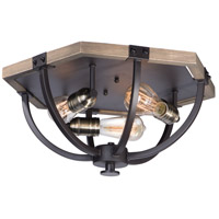 Lodge 3 Light 20 inch Weathered Oak and Bronze Flush Mount Ceiling Light