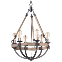 Lodge 6 Light 24 inch Weathered Oak and Bronze Chandelier Ceiling Light